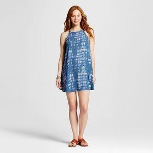 Mossimo Supply Co Blue Tie Dye Swing Mini Dress